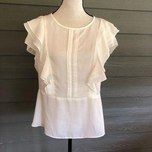 Nanette Lepore White Ruffles Top Shirt Blouse L